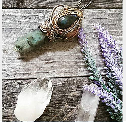 - Labradorite Crystal, Labradorite Point, Blue Stone, Handmade, Reiki Healing, Polymer Clay