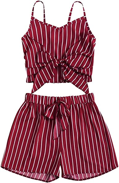 Womens 2 Piece Summer Outfits Boho Striped Print Crop Cami Top with Shorts Set