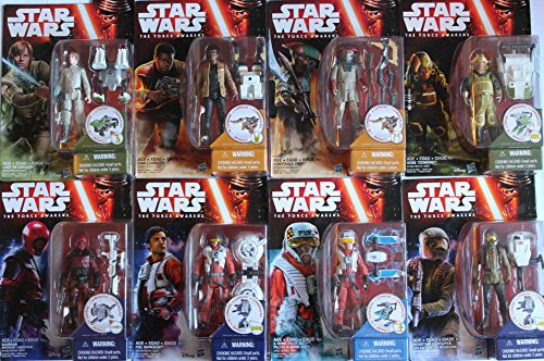 "Star Wars Episode VII The Force Awakens 3.75"" Resistance Trooper, X-Wing Pilot Poe Dameron, Asty, Goss Toower, Zuvio, Guavian, Luke Skywalker & Finn - Set of 8 Action Figures"