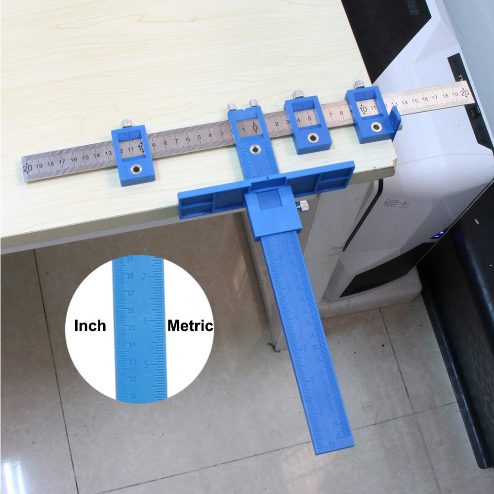 Drill Guide Sleeve Cabinet Hardware Jig,Template Wood Drilling Dowelling for Installation of Handles Knobs on Doors and Drawer Pull with Storage Bag Power Tools Punch Locator
