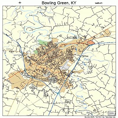Large Street & Road Map of Bowling Green, Kentucky KY - Printed poster size wall atlas of your home town