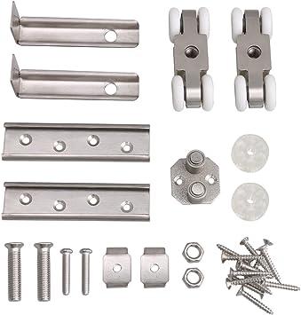 BQLZR - Rodillo de puerta corredera de acero inoxidable plateado, 7,1 x 2,5 x 2,3 cm, 4 ruedas, para colgar puerta corredera: Amazon.es: Bricolaje y herramientas