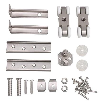 BQLZR - Rodillo de puerta corredera de acero inoxidable plateado, 7,1 x 2