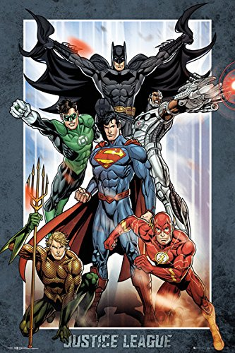 """justice+league Products : Justice League Of America - JLA - DC Comics Poster / Print (Superman, Batman, The Flash, The Green Lantern & Aquaman) (Size: 24"""" x 36"""") (By POSTER STOP ONLINE)"""