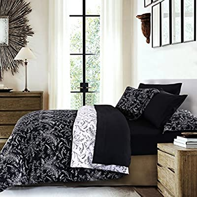 Southshore Fine Linens - Winter Brush Print - Reversible Comforter Sets, 3 Piece Set, Full / Queen, Black - FULL / QUEEN Size is a 3-Piece Set and contains One Comforter: 92 in wide x 92 in long, Two Shams: 20 in wide x 26 in long. Made with 240 GSM of Down Alternate Filling and our Signature 110 GSM Microfiber Fabric. BUY WITH COMPLETE CONFIDENCE - This is a Southshore Fine Linens® Product and Comes with a ONE YEAR Warranty. We strive for 100% Customer Satisfaction. If for any reason you are not satisfied, please contact us and we will take care of you. Please make sure you are buying from Southshore Fine Linens® or our FBA Account to qualify for this Warranty. We do not have any Authorized Dealers. We promise to do our absolute best to resolve any issues you might have. EASY CARE - Machine wash in cold. Tumble dry low. Remove Promptly. - comforter-sets, bedroom-sheets-comforters, bedroom - 61H37F5LEwL. SS400  -