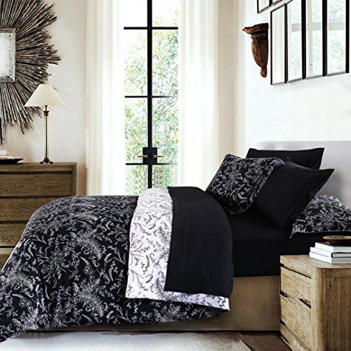 Southshore Fine Linens - Winter Brush Print Reversible 3-Piece Duvet Cover Sets Set, Black, King / California King