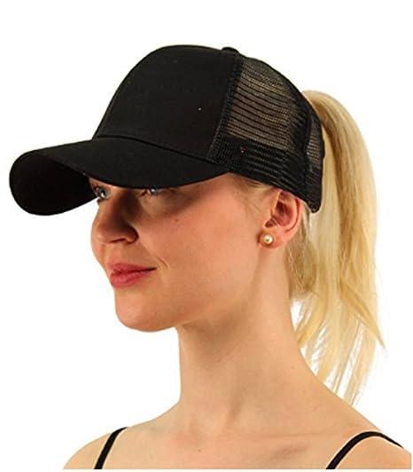 cf4d7c33c Alljoin Ponytail Baseball Cap Hat Ponycap Messy High Bun Ponytail Adjustable  Mesh Trucker Baseball Cap Hat