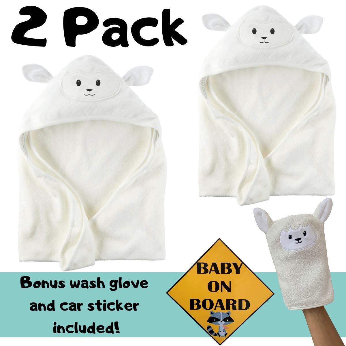 Organic Bamboo Baby Hooded Towel (2-Pack) | Bonus Wash Glove and Car Sticker | Ultra Soft and Super Absorbent Hooded Bath Towel with Cute Lamb Face | Great Baby Shower Present for Boy or Girl