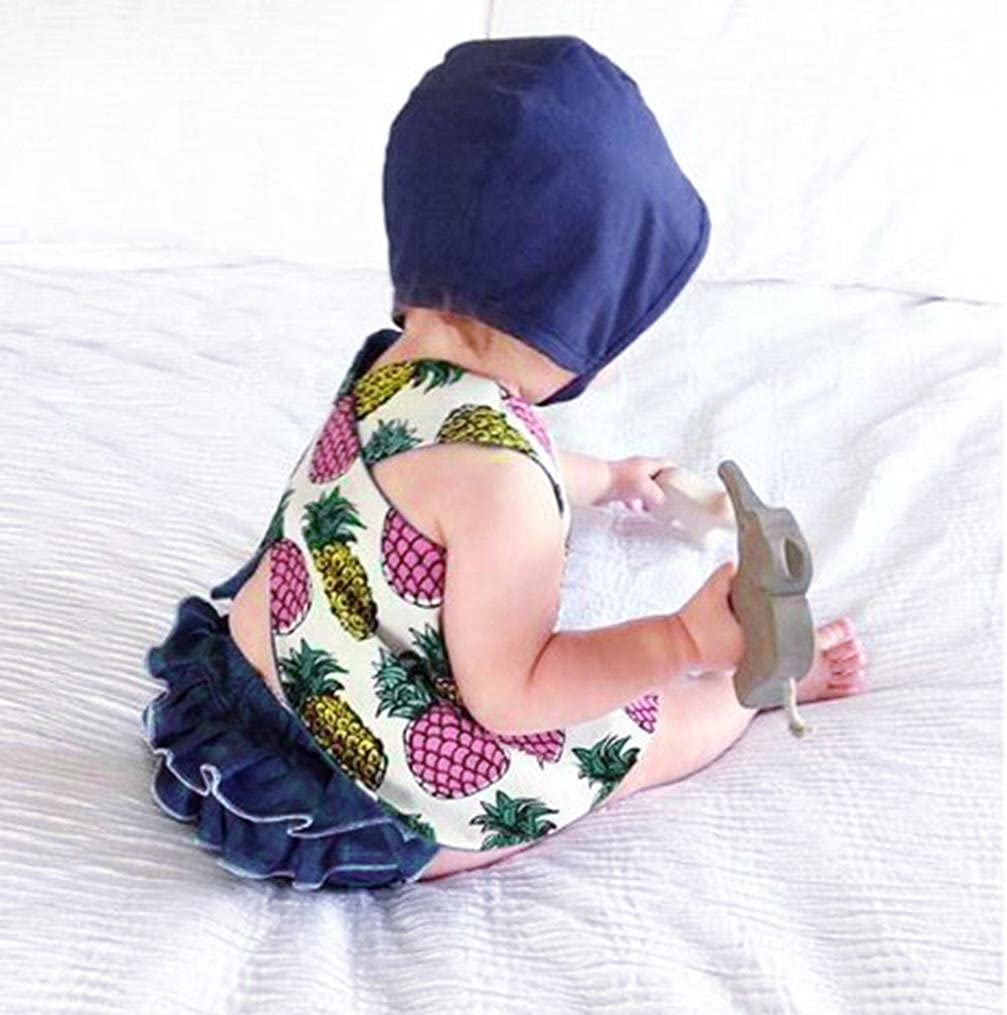 Moonker Infant Baby Girls Summer Clothes Sets Pineapple Print Vest Tank Tops and Ruffles Short Pants Outfits 0-2T