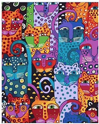 Regalo de Pintura al oleo para Adultospor numeros cuadro ful co cat animal lscape- (40x50cm) -Marco de madera