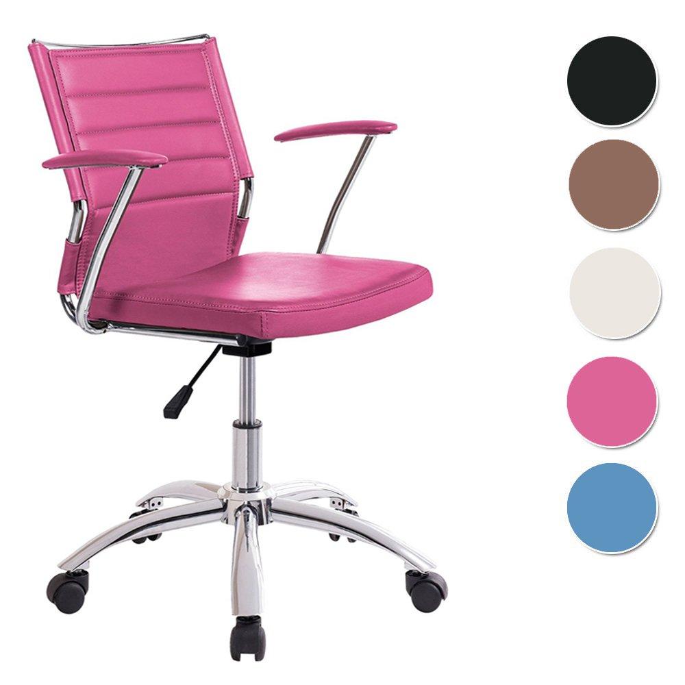 Silla de escritorio para despacho modelo LIFE base ruedas color rosa ...