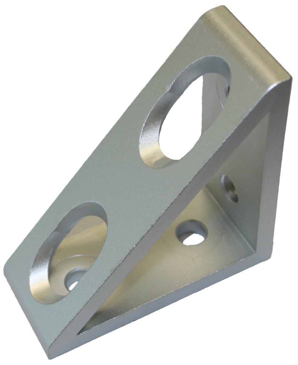 Faztek 15 Series Aluminum 6063-T6 4 Hole Inside Gusset Corner Bracket, Clear Anodize, 1-19/64'' Width x 3'' Length