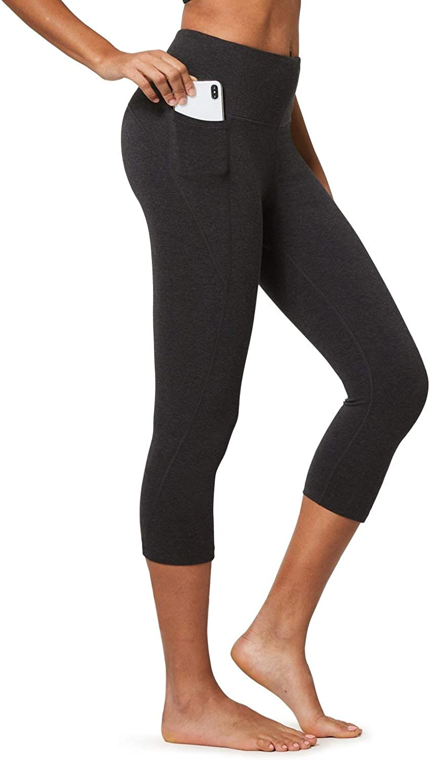 BALEAF Women's High Waisted Yoga Capris w Side Pockets Cropped Leggings Workout Capris Pants