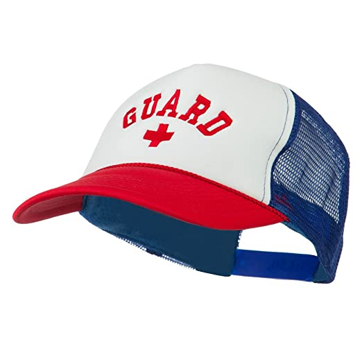 8eb3506b770 E4hats Life Guard Cross Embroidered Foam Mesh Back Cap - Red White Royal  OSFM
