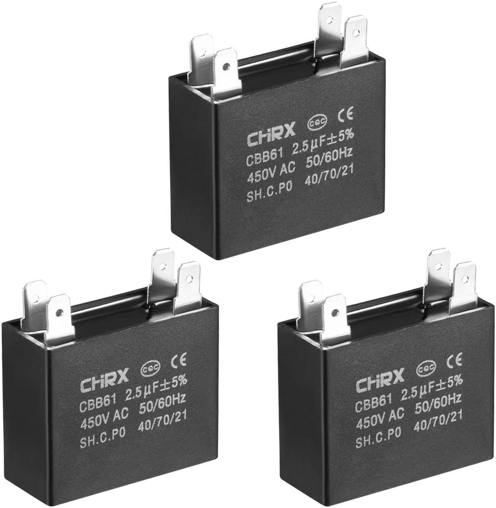 uxcell CBB61 Run Capacitor 450V AC 2.5uF Doule Insert Metallized Polypropylene Film Capacitors for Ceiling Fan 3pcs