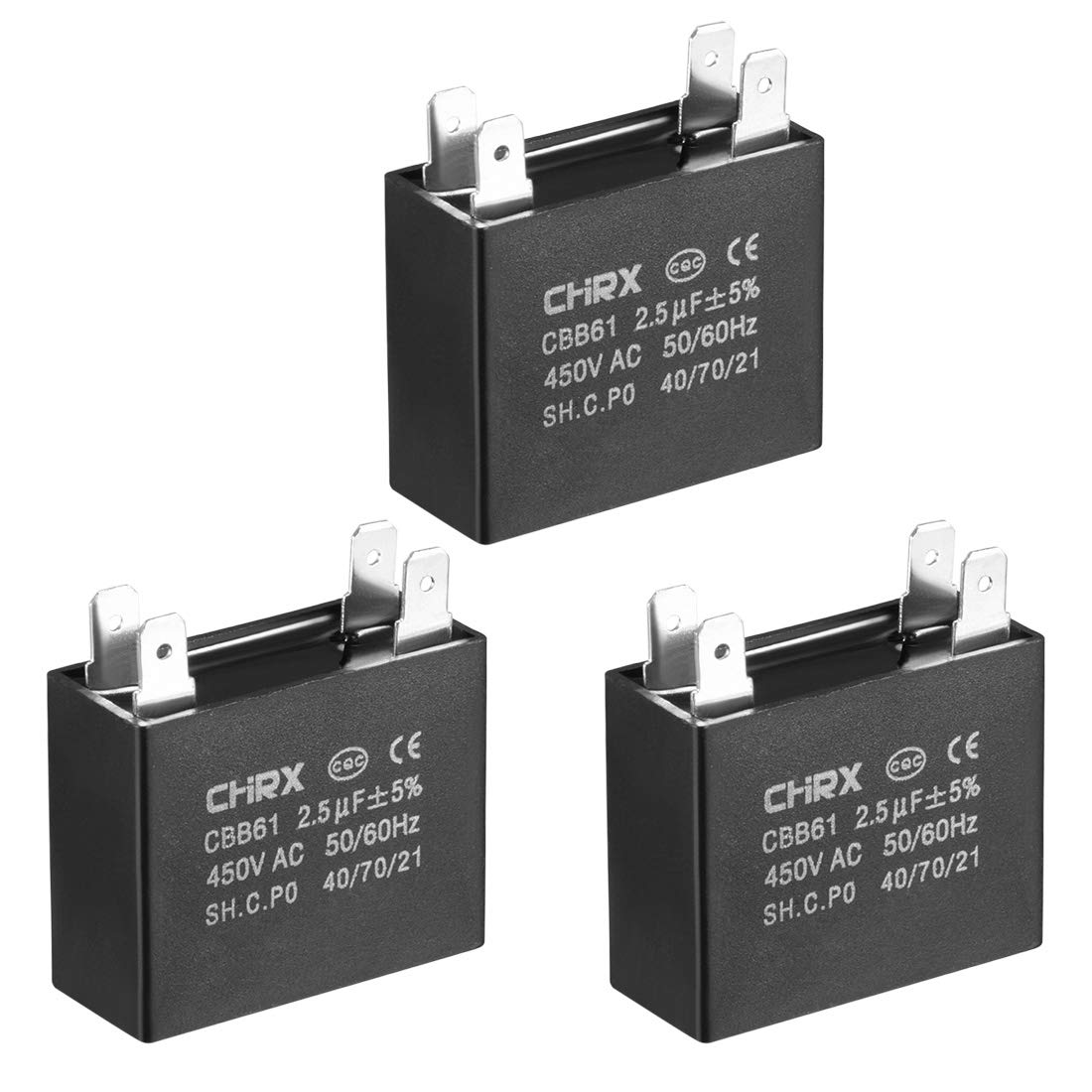 uxcell CBB61 Run Capacitor 450V AC 4uF Doule Insert Metallized Polypropylene Film Capacitors for Ceiling Fan 4pcs