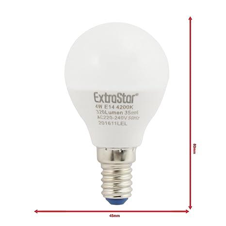 4 unidades Bombilla LED E14 10 W luz natural 320Lumen [Clase de eficiencia energética A