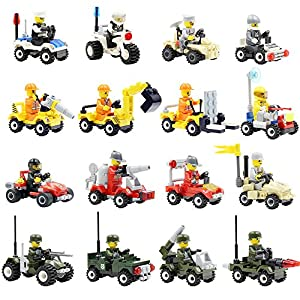 Building Vehicles with Minifigures (Set of 16), Lego-Compatible, Birthday Favors for Kids, Party Supplies Toy Gift