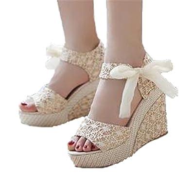 7c2d80c29b14 UNIOPLIIL Fashion Women Sandals Summer Wedges Women s Sandals Platform Lace  Belt Bow Flip Flops Open Toe