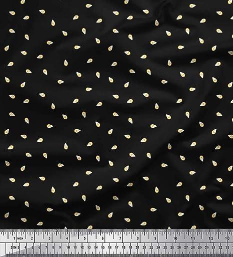 Soimoi Negro gasa de algodon Tela Aguacate tela de camisa tela estampada de 1 metro 42 Pulgadas de ancho: Amazon.es: Hogar