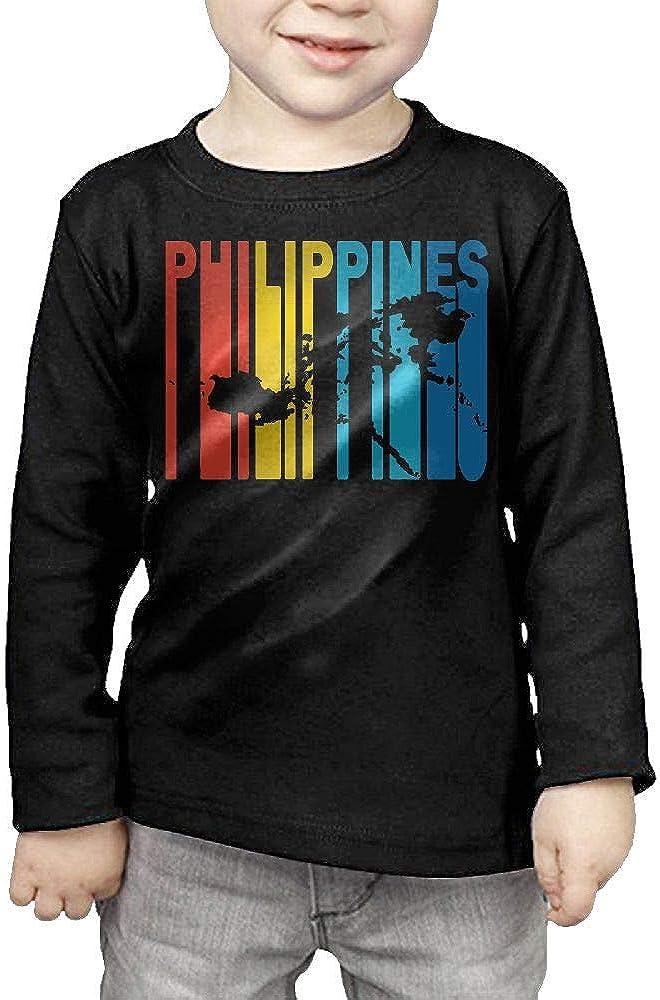 CERTONGCXTS Little Boys Philippines Retro 1970s Style ComfortSoft Long Sleeve Shirt