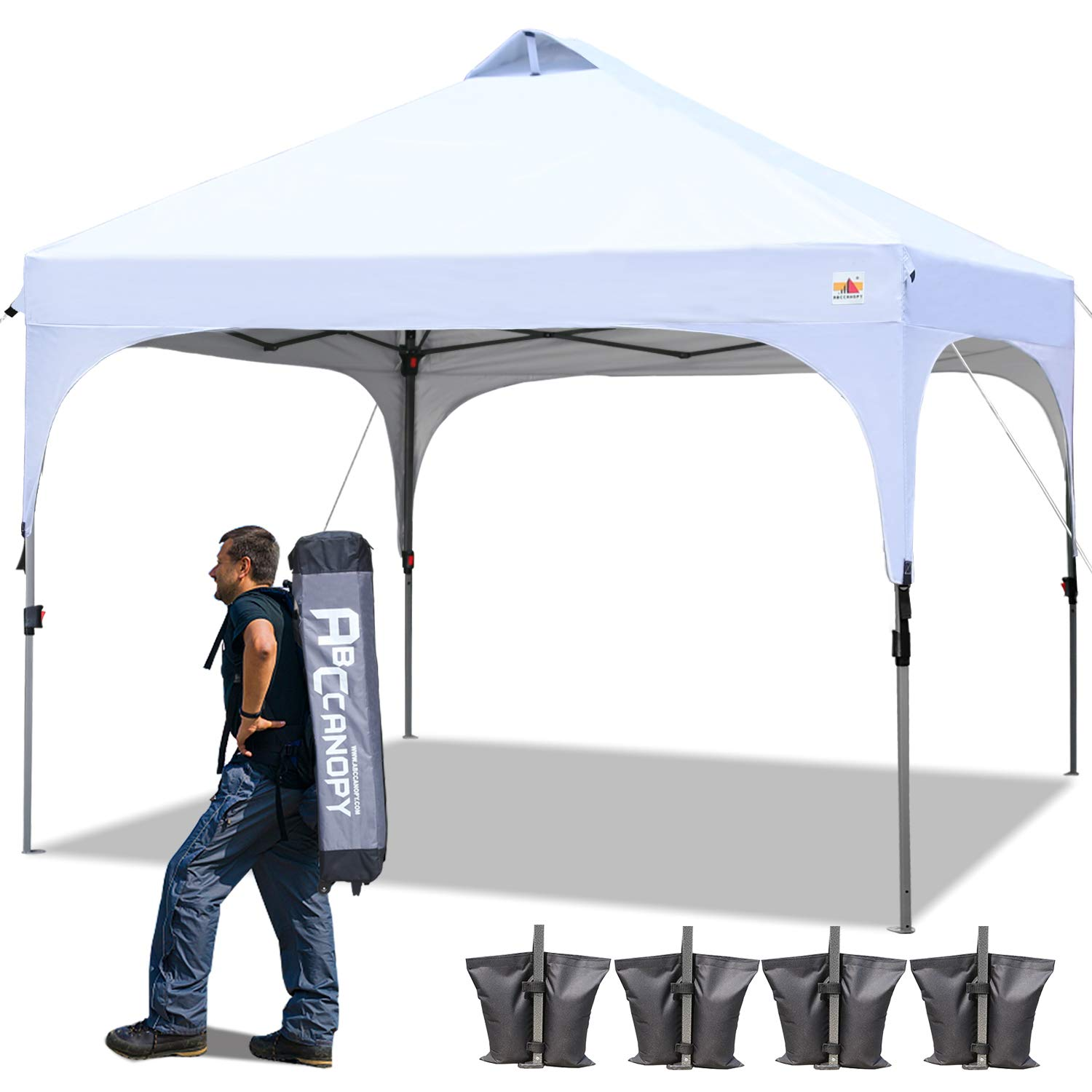 ABCCANOPY 10 x 10 Canopy Tent Pop-Up Commercial Instant Shelter Portable Shade Canopy Popup Tents Outdoor with Wheeled Carry Bag Bonus 4 Weight Bags, 4 x Ropes& 4 x Stakes, White