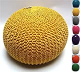 Millhouse Knitted Pouffe Footstool Bean Filled Cotton for Living Room or Bedroom (40cm, Yellow)