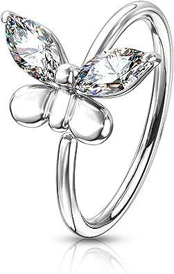 14K ROSE GOLD IP SIMULATED DIAMOND FLOWER BENDABLE NOSE HOOP EAR RING 20G