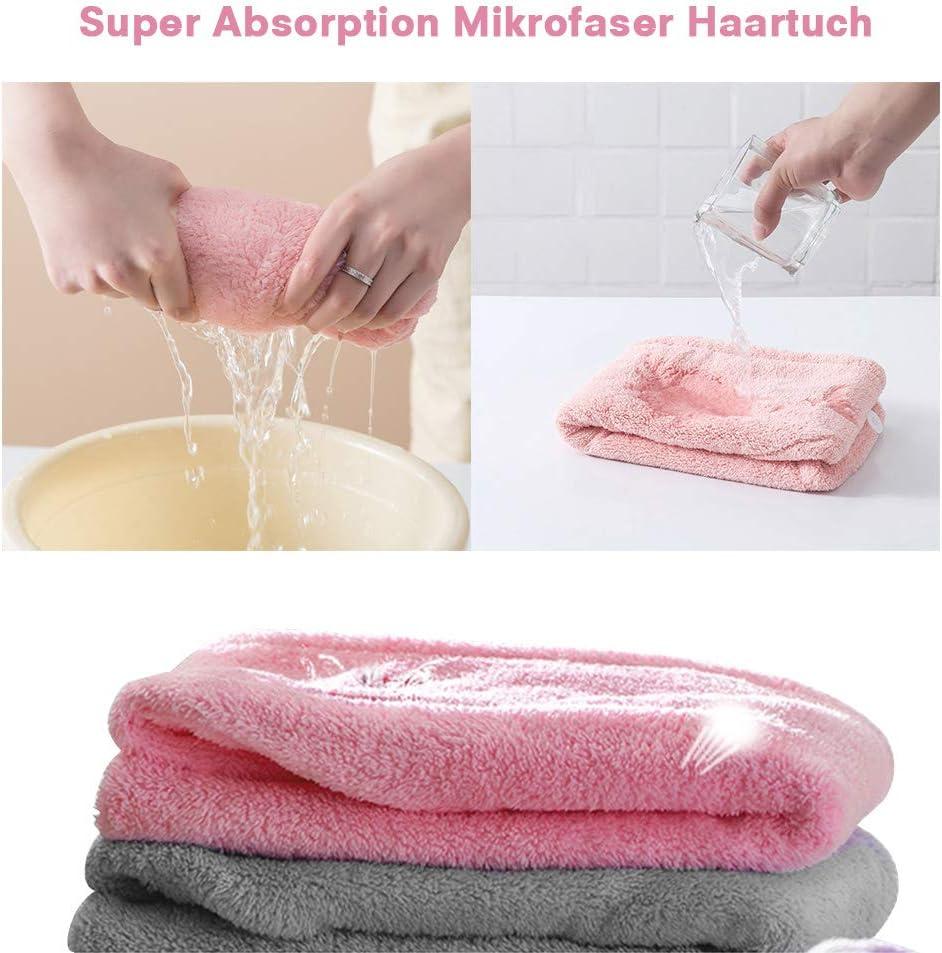 GEEKHOM assorbenti con 2 fasce per capelli Set di 3 asciugamani turban con bottone in microfibra ad asciugatura rapida