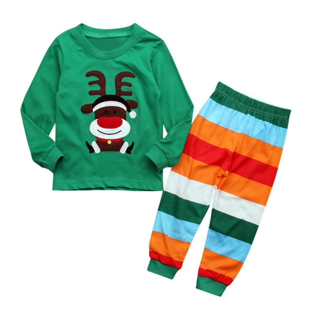 DIGOOD 1-7 Years old Kids Christmas Toddler Baby Girls Boys Deer Print Romper+Striped Pants Outfits Clothes Set