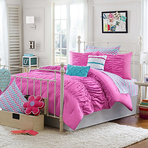 Teen Girls Chevron 5-Piece Bedding for Kids Pink Pinch Pleat Ruffles Bed in a Bag TWIN/TWIN XL Comforter Set