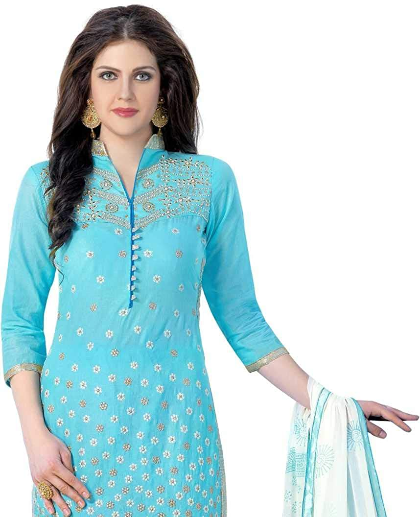 Embellished Salwar Suit Dupatta Material for Womens DnVeens Pure Cotton Embroidered Unstitched