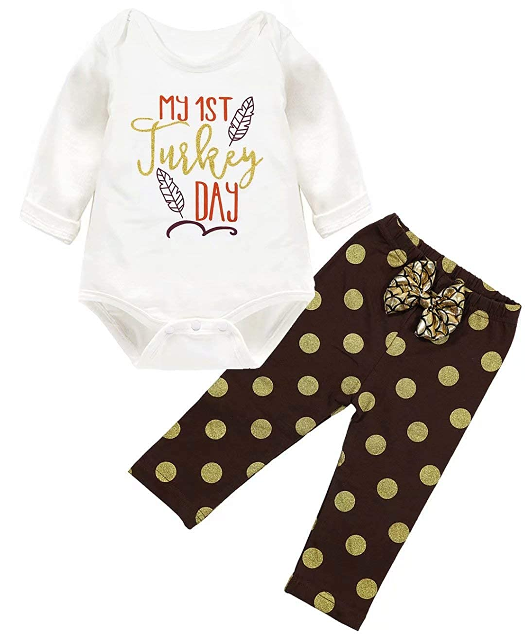 EGELEXY My 1st Turkey Day Outfit Baby Girls Long Sleeve Romper Polka Dot Pant Outfit Thanksgiving Gift