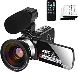 Video Camera with Microphone YouTube Camera for Vlogging 4K Webcam 30FPS 16X Digital Zoom Recorder Video Cameras 3.0 Inch Touch Screen Cameras for Photography and Video with Two Batteries