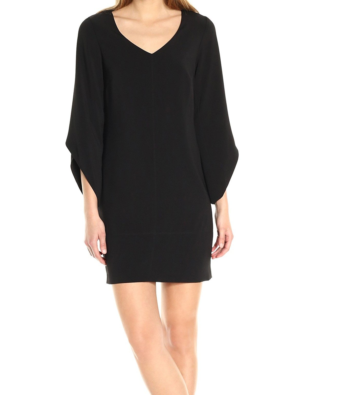 Laundry by Shelli Segal Women's Tulip Sleeve Crepe T Body, Black, 10
