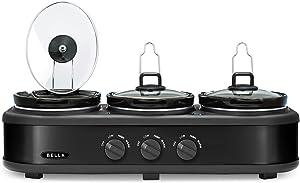 BELLA Triple Slow Cooker and Buffet Server, 3 x 1.5 QT Black