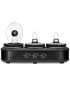 BELLA Triple Slow Cooker and Buffet Server, 3 x 1.5 QT Black