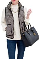 FashionFit Women's Fall Slim Stand Collar Quilted Herringbone Puffer Vest with Zipper