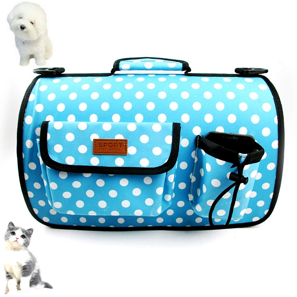 bluee dot LargePuppy Tote Holder Dog Carrier Backpack Travel Adjustable Puppy Cat Pet Bag Fully Ventilated Bag Sling Outdoor Two Sided Entry with Shoulder Strap Carrier Hands FreeLbluee