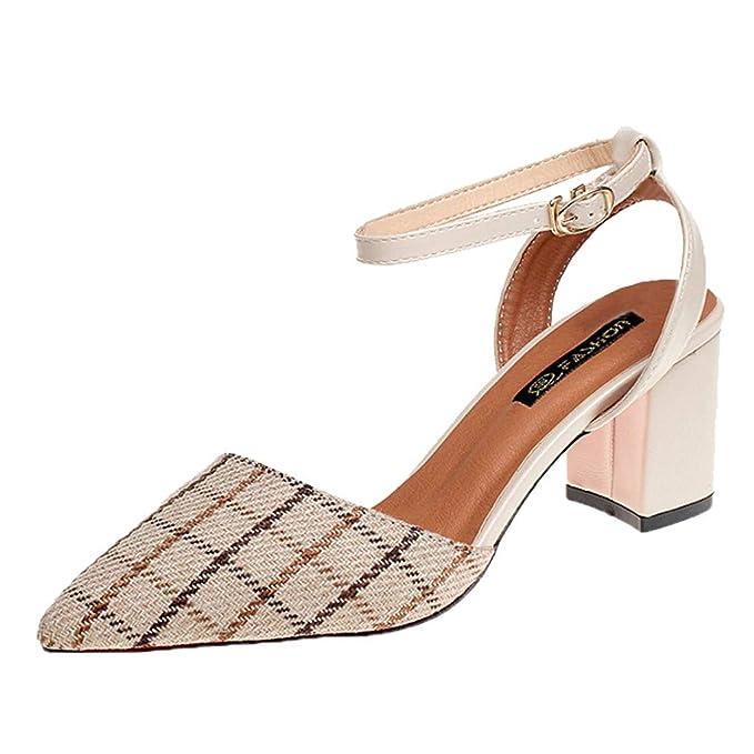 Darringls_Zapatos para Mujer,Zapatillas Puntiagudo Impresión a Cuadros Botines Talón Grueso Sandalias Zapatos de tacón Alto: Amazon.es: Ropa y accesorios