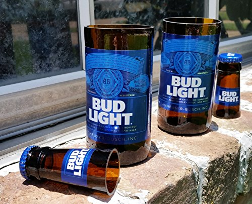 Set of 2 upcycled Bud Light glasses and 2 shot ()