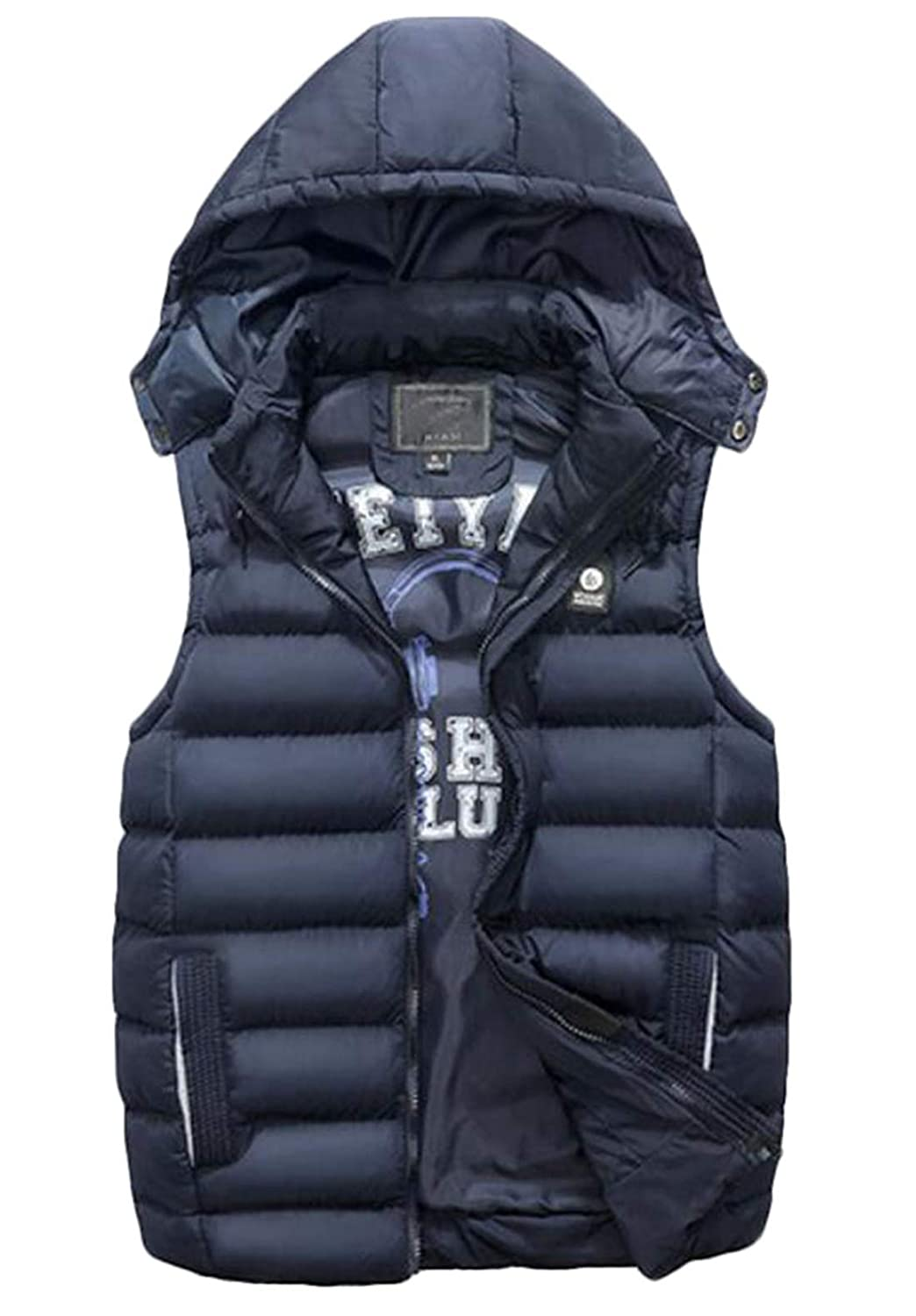 Fllay Men Sleeveless Outdoor Warm Removable Hooded Jacket Quilted Padded Gilet Vest