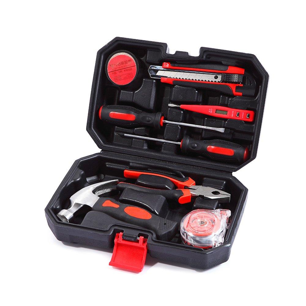 NKOU 8 Small Homeowner Tool Set Home Repair Hand Tool Kit with Plastic Tool box Storage Case