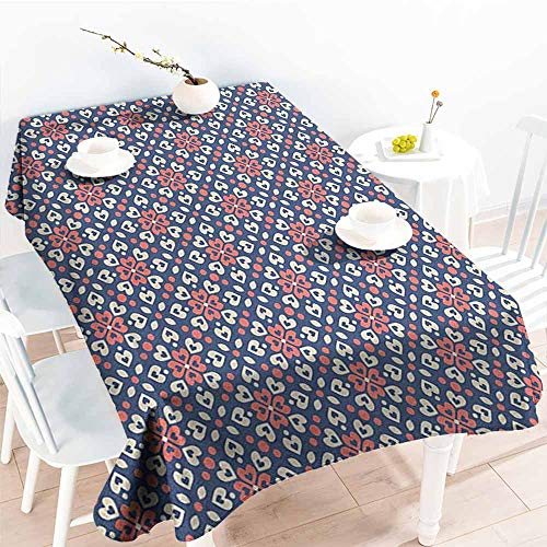 Willsd Tablecloth for Kids/Childrens,Abstract Floral Hearts Forming Old Fashioned Mosaic Tiles Shabby Chic Pattern,Fashions Rectangular,W50x80L Night Blue Ivory Coral