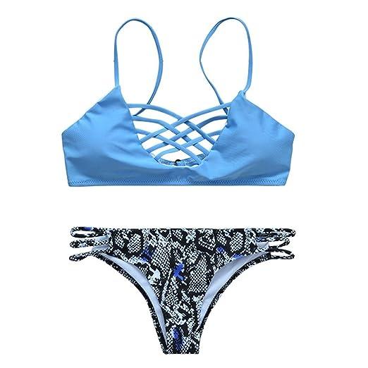 8e1753b37f9 Amazon.com: Inverlee Push-up Padded Bra Swimsuit Bathing Sexy Women Floral Bikini  Set Swimwear (L): Clothing