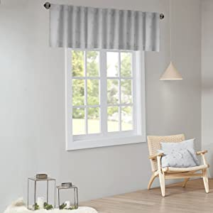 Urban Habitat Brooklyn Cotton Jacquard Pom Pom Window Valance Grey 50x18