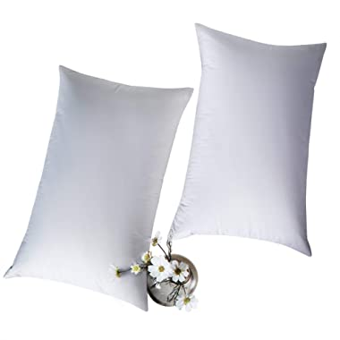 """Globon White Goose Feather Bed Pillows King Size 20""""x 36"""", 300 TC,100% Cotton Shell,Three Chambers,Hypoallergenic, Medium Firm and Soft Support, Set of 2, White"""