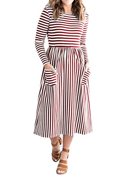 Women's 3/4 Balloon Sleeve Striped High Waist T Shirt Midi Dress