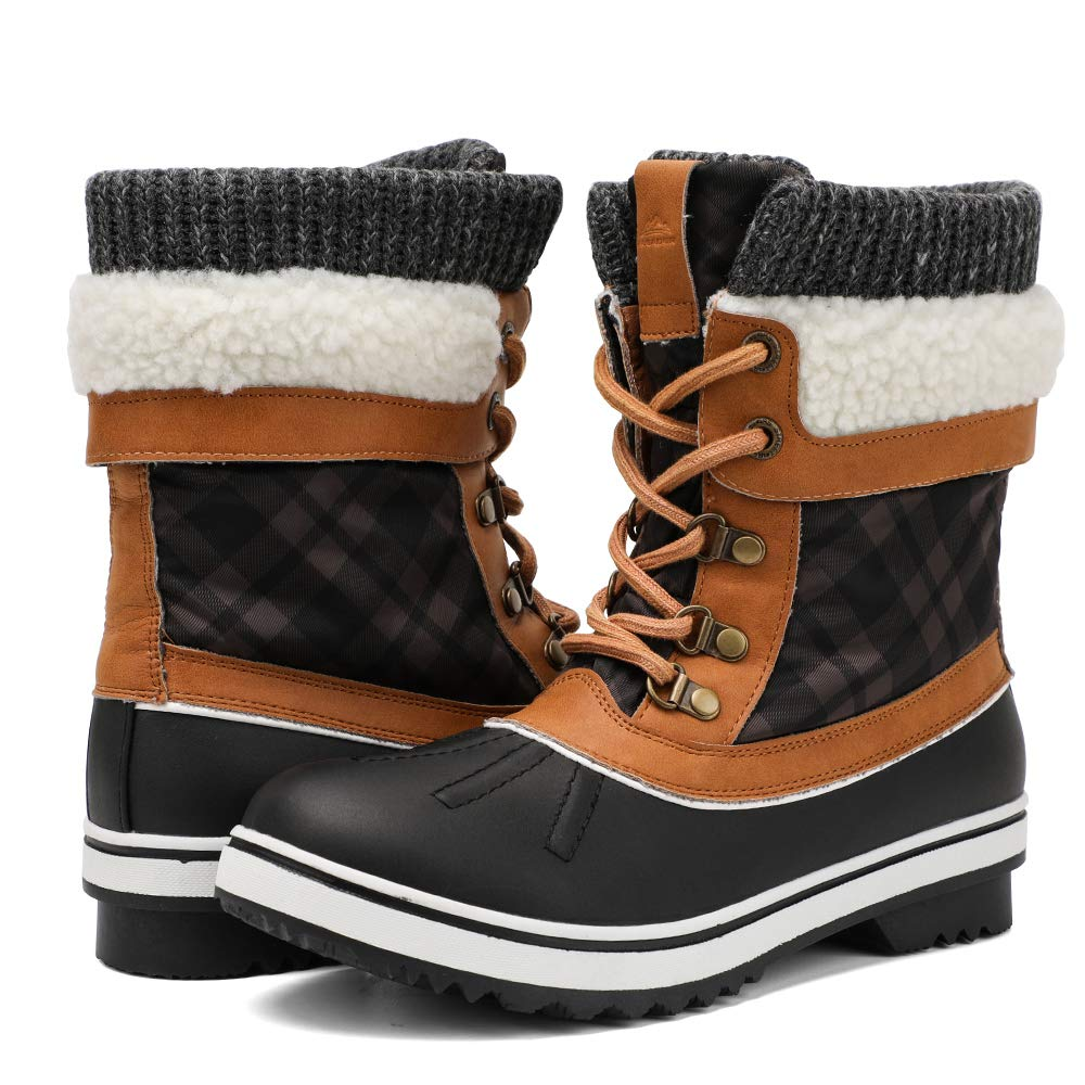 ALEADER Waterproof Winter Boots for Women, Warm Snow Booties Black/Camel 10 B(M) US by ALEADER