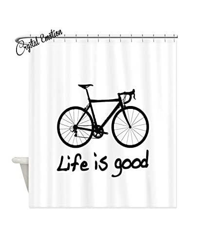 Amazon Crystal Emotion Life Is Good Bike Shower Curtain